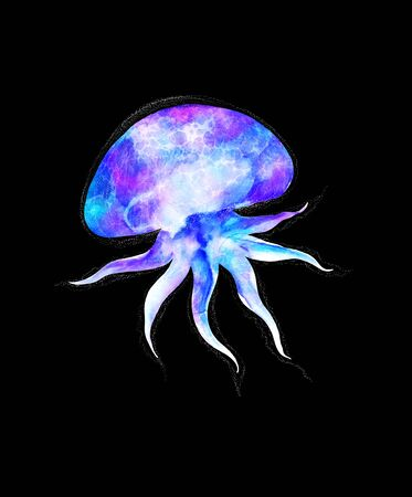Watercolor jellyfish in modern bright neon colors isolated on black background Futuristic vivid illustration in large size Design element in magic style, purple blue violet glow pink fluid colorful underwater Zdjęcie Seryjne