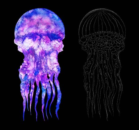 Watercolor jellyfish set in modern bright neon colors and in graphic stroke isolated on black background Vivid illustration Design element in magic style, purple blue violet glow pink fluid colorful wildlife Zdjęcie Seryjne