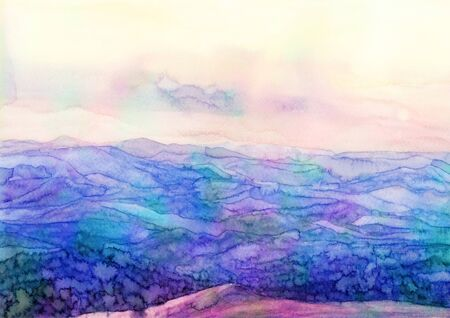 Watercolor landscape mountains. Hand painted background. Textured vibrant artwork Stock Photo