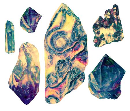 Watercolor crystals minerals stones marble set isolated on white background. Printable poster. Vivid bright objects Illustration. Natural art realistic old texture.