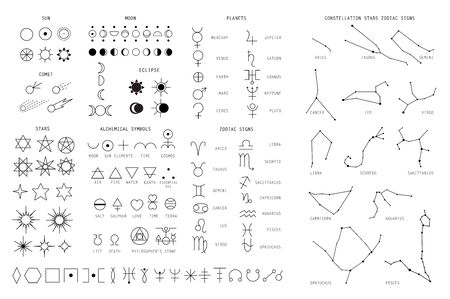 Zodiac sings constellation, alchemy astrology astronomy symbols, isolated icons. Planets, stars pictograms. Big esoteric set in line art black and white color geometric art