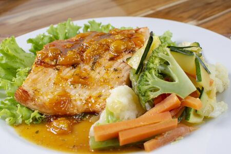 salmon in passion fruit sauce