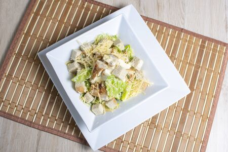 Lettuce, croutons and parmesan cheese salad