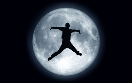 challenges: jump moon Stock Photo