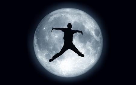 jump moon Standard-Bild