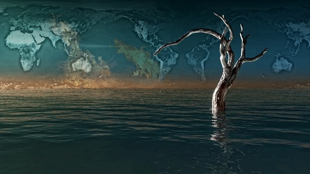 mapa: 3d image of a dead tree Stock Photo