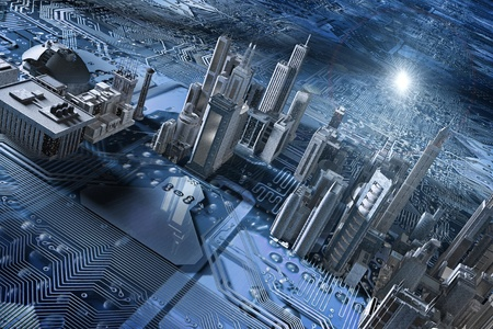 3d picture of electronic circuit with buildings Banco de Imagens
