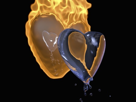 throbbing: hearts 3d image