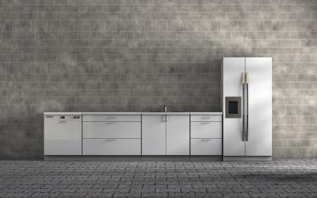 white kitchen Standard-Bild