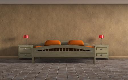 orange bedroom photo