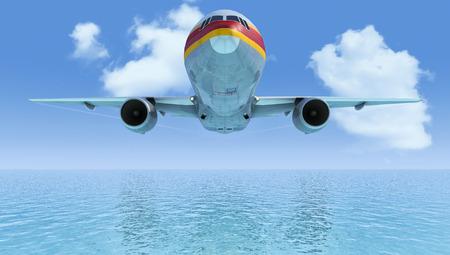 sky  sea: cielo, mare, nuvole e passeggero aereo in 3d Archivio Fotografico