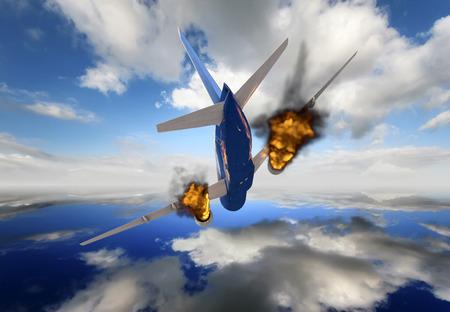 passenger plane in 3d crashing