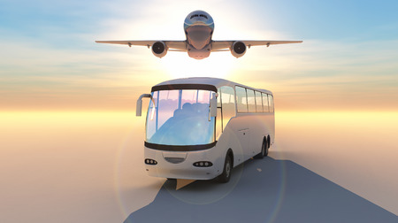 excursions: illustrations bus and aircraft in desert area Stock Photo
