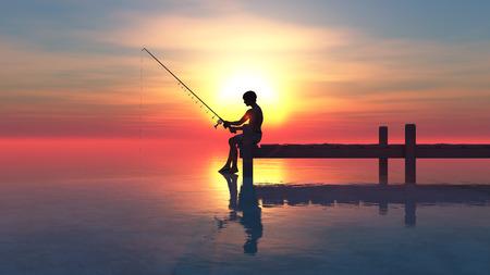 incommunicado: Man fishing on pier at sunset