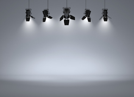 empty stage: Empty studio with headlights on Stock Photo