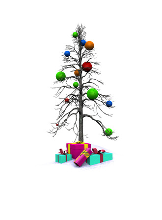 decorated Christmas tree with gifts photo