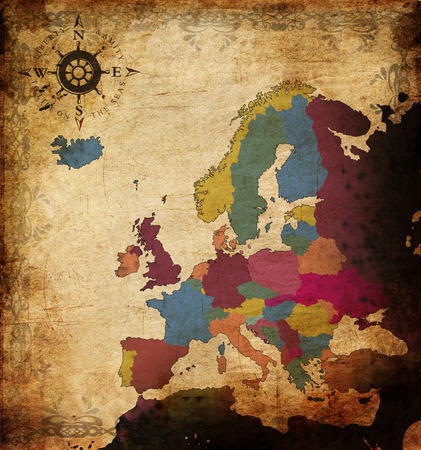 ancient map: illustration of an ancient map of europe Stock Photo