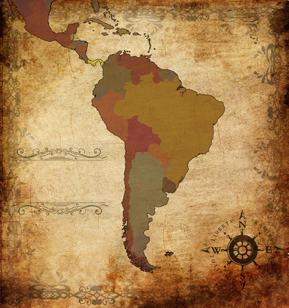 latin  america: illustration of an ancient map of South America Stock Photo