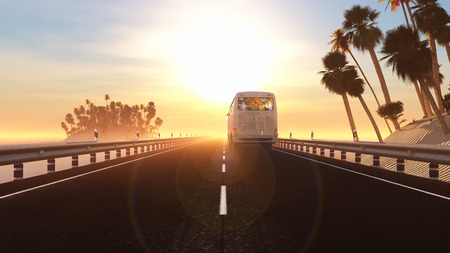 excursions: 3d illustration bus in tourist area and sunset