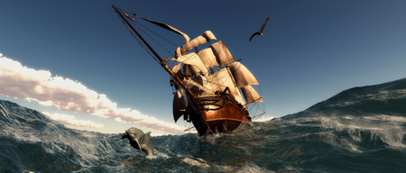illustration of sea and Old sailboat  in 3d