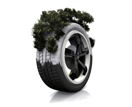 snow tire: wheel drive with snow and trees in the area
