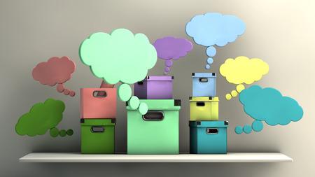 hipotesis: concepto imaginar, cajas de diferentes colores en un estante