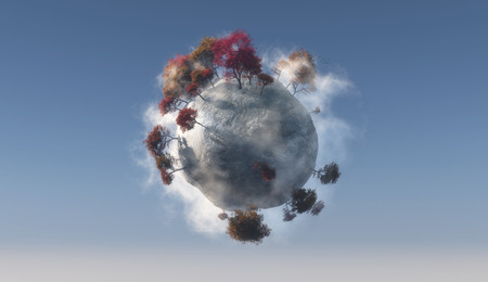 ecosystem: illustration of a Mini planet and ecosystem Stock Photo