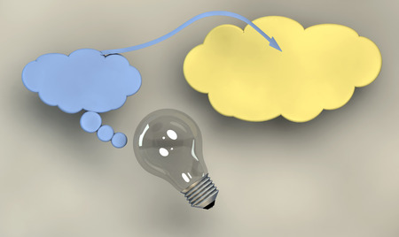 hypotheses: illustration with communication symbols or imagination and a light bulb with plain background