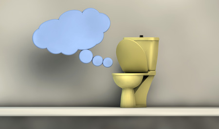 hypotheses: illustration with communication symbols or imagination with a toilet and plain background