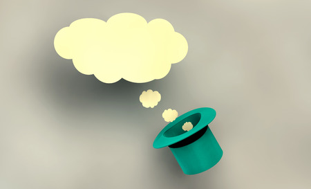 hypotheses: illustration with communication symbols or imagination with hat