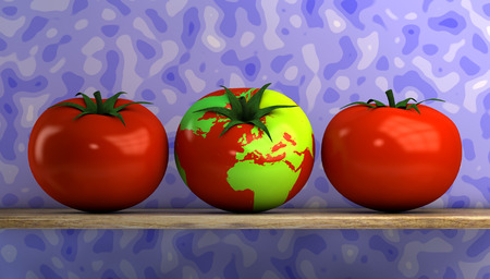 illustration of tomato with a world map on your skin illustration