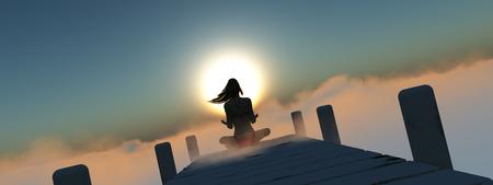 amanecer: ilustración de la mujer sentada en un muelle sobre las nubes Foto de archivo