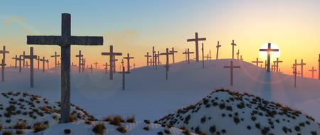 illustration of a desert and wooden crosses