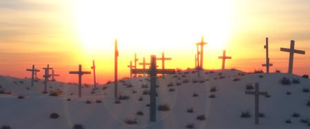 amanecer: ilustraci�n de un desierto y cruces de madera