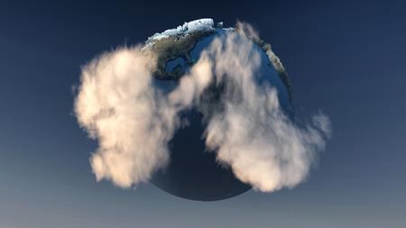 ecosistema: 3d imagen de un planeta tierra con Mini ecosistema flotando en el espacio Foto de archivo