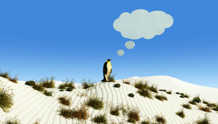 thirsty bird: illustration of a penguin in a desert imagining Stock Photo