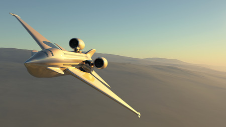 prototype: 3d illustration of a prototype aircraft flying