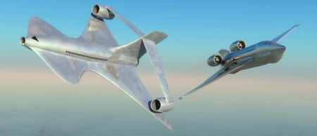 prototype: illustration of a prototype aircraft flying over the sea