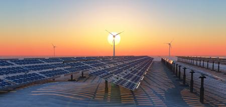 Ilustración del concepto de energía sostenible, paneles solares y molinos de viento