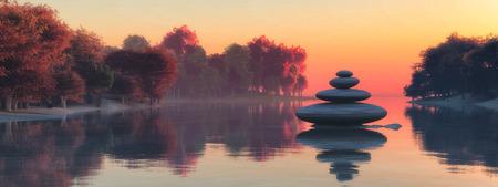 sunset and zen stones concept in 3d