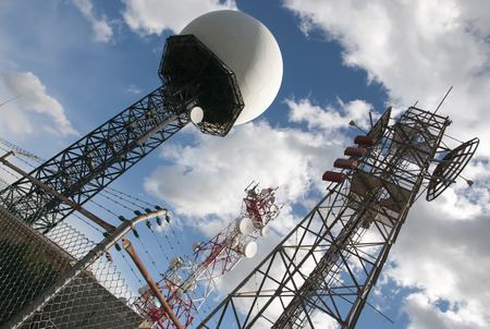 enforced: radar and comunication antennas on top of a mountain
