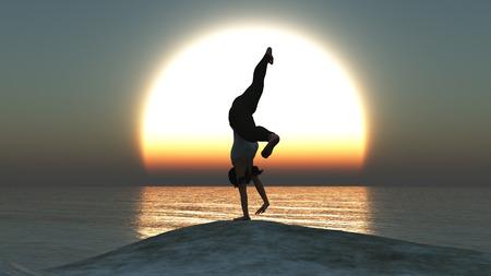 amanecer: ilustraci�n de la mujer que hace ejercicio en la puesta del sol