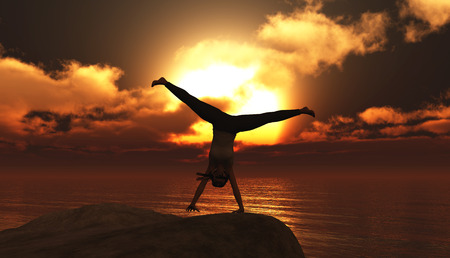 pirouette: illustration of woman doing exercise at sunset