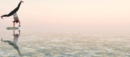 amanecer: ilustración de la mujer que hace ejercicio en la puesta del sol