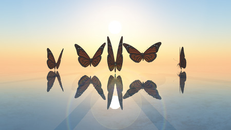 mariposas volando: 3d ilustraci�n de las mariposas que vuelan hacia el sol