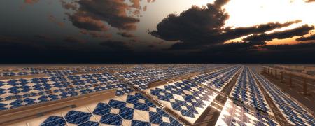 concept illustration of sustainable energy solar panels Stock Photo