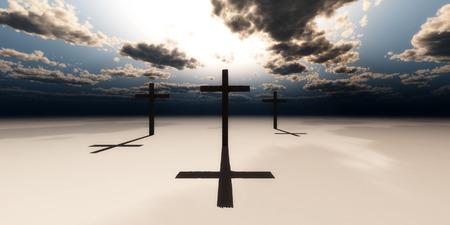 breaking dawn: ilustraci�n de un desierto y cruces de madera