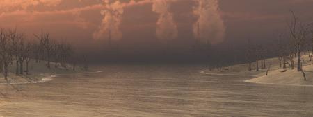 arboles secos: islas con �rboles muertos y pozos de petr�leo en el mar
