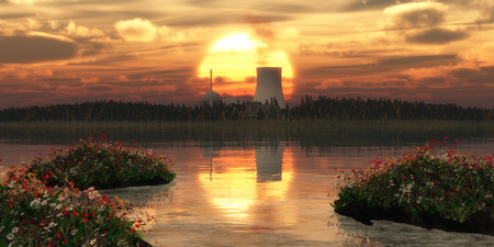 radiation pollution: nuclear power station on an island and sunset