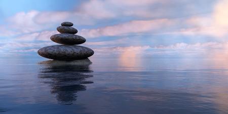 piedras zen: piedras zen, el mar y el cielo en 3d Foto de archivo